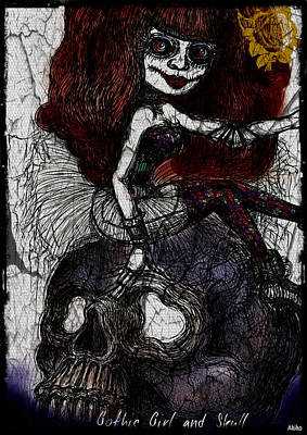 Gothic Girl And Skull Art Print