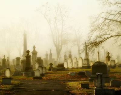 Graveyard Road Photograph - Gothic Autumn Morning by Gothicrow Images
