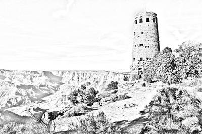 Digital Art - Grand Canyon National Park Mary Colter Designed Desert View Watchtower Black And White Line Art by Shawn O'Brien
