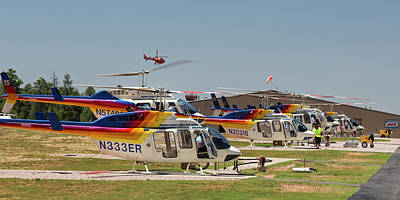 South Kaibab Photograph - Grand Canyon Sightseeing Helicopters by Jim West/science Photo Library