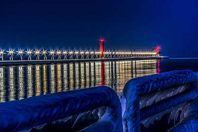 Grand Haven Lighthouse Blue Minute Art Print by Joe Holley