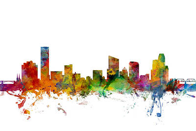 Michigan Digital Art - Grand Rapids Michigan Skyline by Michael Tompsett