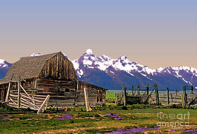 Teton Digital Art - Grand Tetons-mormon Row 10 by Linda  Parker