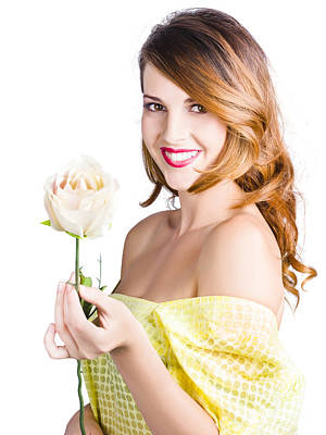 Grateful Woman Giving White Rose Art Print by Jorgo Photography - Wall Art Gallery