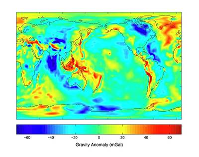 Grace Photograph - Gravity Map Of Earth by Nasa/jpl/university Of Texas Center For Space Research