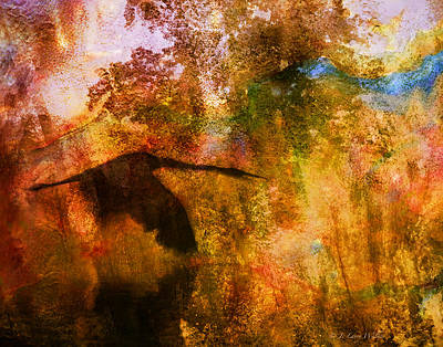 Print featuring the digital art Great Blue Heron Abstract by J Larry Walker