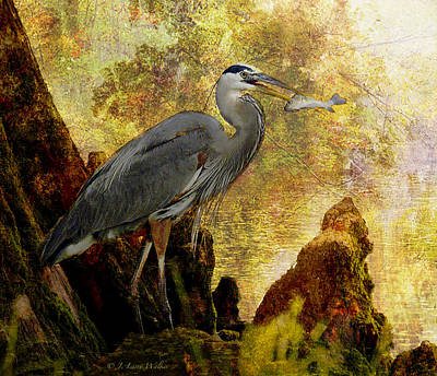 Print featuring the digital art Great Blue Heron Morning Snack by J Larry Walker