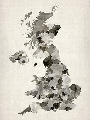 Great Britain Uk Watercolor Map Art Print