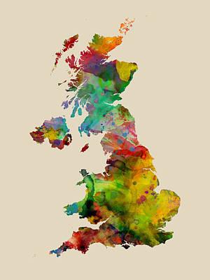 Great Britain Watercolor Map Art Print by Michael Tompsett