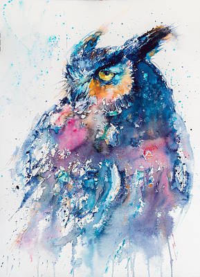 Owl Painting - Great Horned Owl by Kovacs Anna Brigitta