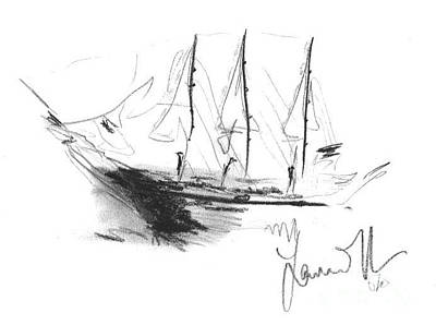 Drawing - Great Men Sailing by Laurie L