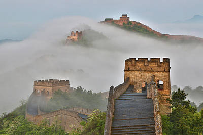 Great Wall Of China Photograph - Great Wall Of China On A Foggy Morning by Darrell Gulin