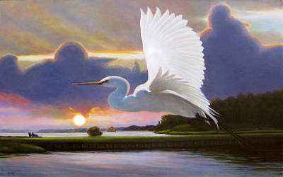 Great White Egret At Sunrise Art Print by Charles Wallis