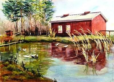 Green Acre Farm Art Print by Betty M M   Wong