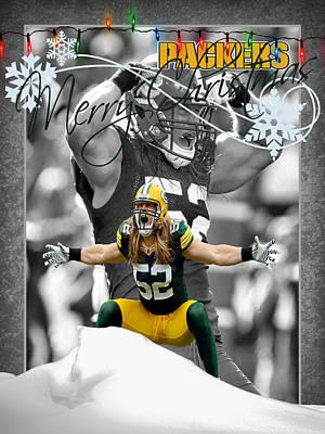 Green Bay Packers Christmas Card Print by Joe Hamilton