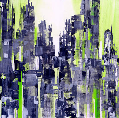 Moody Street Painting - Green City by Katie Black
