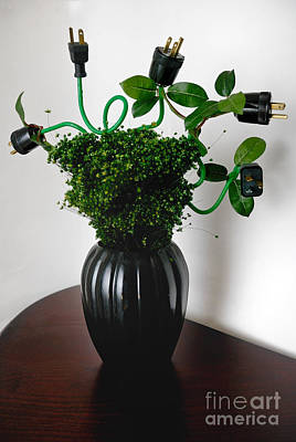 Vase Photograph - Green Energy Floral Arrangement Of Electrical Plugs by Amy Cicconi