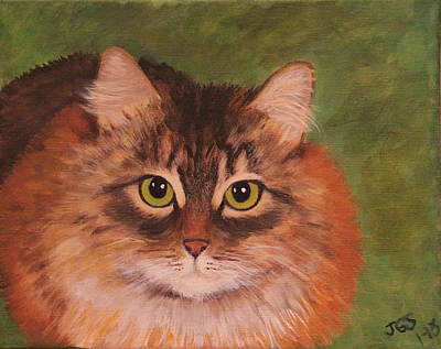 Green Eyed Kitty Art Print by Janet Greer Sammons
