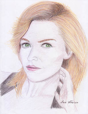 Drawing - Green Eyes by M Valeriano
