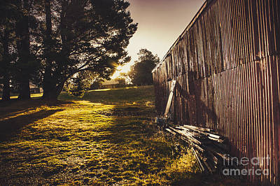 Abandoned Ranch Photograph - Green Farm Paddock Landscape. Outback Australia by Jorgo Photography - Wall Art Gallery