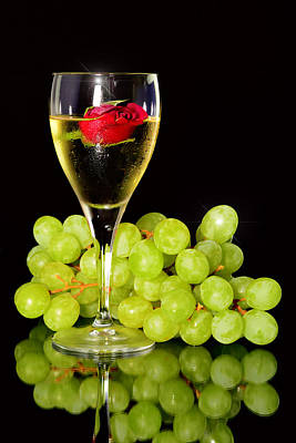 Green Grapes And A Glass Of White Wine Original