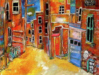 Le Plateau. Montreal Memories Painting - Green Laneway 2 by Michael Litvack