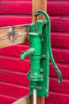 Stone Trough Photograph - Green Manual Pump From Well by Gunter Nezhoda