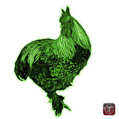 Painting - Green Rooster - 3166 Fs by James Ahn