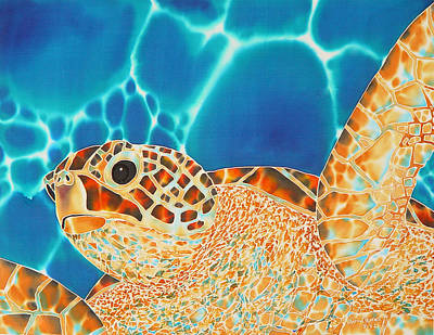 Fiber Art Painting - Green Sea Turtle by Daniel Jean-Baptiste