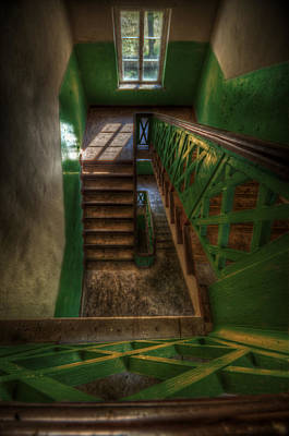 Eerie Digital Art - Green Stairs by Nathan Wright