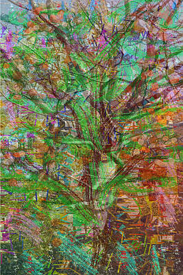 Amazing Stories Mixed Media - green theme abstract tree leaf dense wild estate Pure abstract view carefully and find some thing ne by Navin Joshi