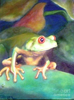 Art Print featuring the painting Green Tree Frog - Original Sold by Therese Alcorn