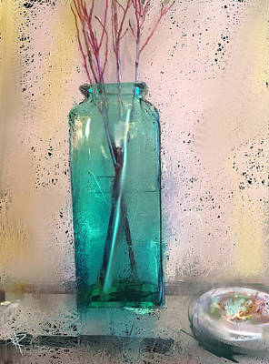 Glass Table Reflection Mixed Media - Green Vase by Russell Pierce