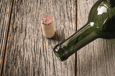 Vino Photograph - Green Wine Bottle And Cork With Red Wine by Brandon Bourdages