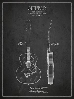 Gretsch Guitar Patent Drawing From 1941 - Dark Art Print by Aged Pixel