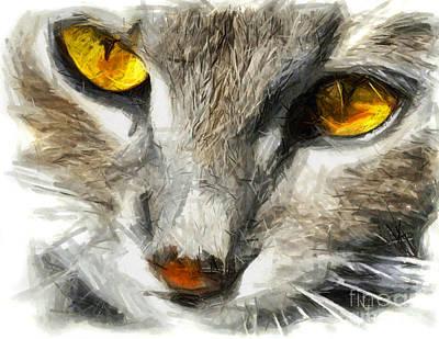 Blue Hues - Grey cat with yellow eyes - DRAWING by Daliana Pacuraru