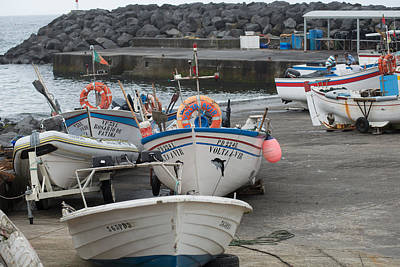 Photograph - Groups Of Fishing Boats With Life Preservers Docked  by Joseph Amaral