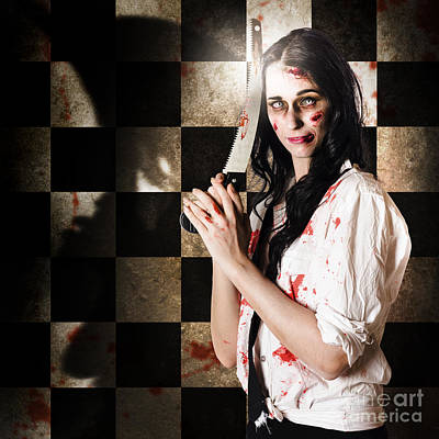 Discount Wall Art - Photograph - Gruesome Evil Zombie Holding Bloody Saw  by Jorgo Photography - Wall Art Gallery