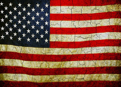Digital Art - Grunge American Flag  by Steve Ball