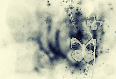 Distressed Digital Art - Grunge Floral Abstract by Modern Art Prints