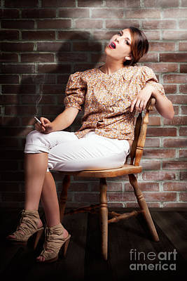 Grunge Girl Smoking Cigarette In Dark Interior Art Print