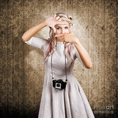 Grunge Girl With Retro Film Camera Concept Framing Art Print by Jorgo Photography - Wall Art Gallery