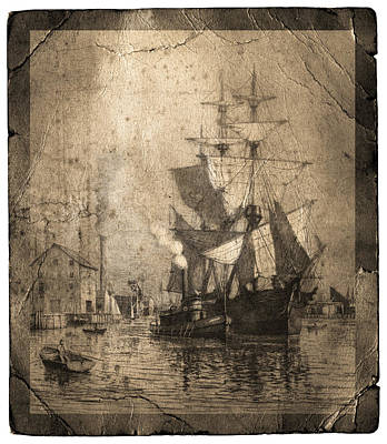 Grungy Historic Seaport Schooner Art Print by John Stephens