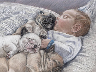 French Bull Dog Wall Art - Pastel - Guardian Angles by Ellen Lyner