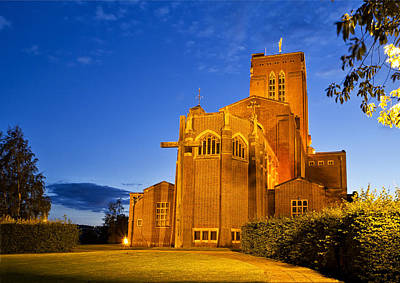 Photograph - Guildford Cathedral At Night by Shirley Mitchell