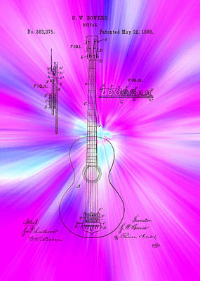 1880s Drawing - Guitar Patent 1888 by Mountain Dreams