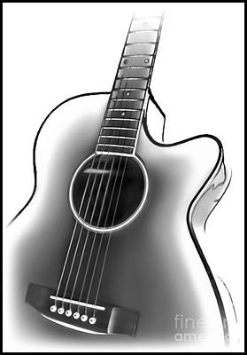 Photograph - Guitar Bw by Walt Foegelle