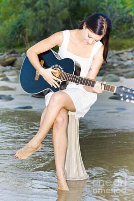 Guitar Woman Art Print by Jorgo Photography - Wall Art Gallery