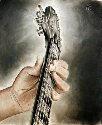 Art Print featuring the drawing Guitarist's Point Of View by Glenn Beasley
