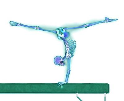 Gymnast Balancing On A Beam Art Print by Gustoimages/science Photo Library
